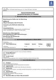 Sicherheitsdatenblatt gemäß EG-Richtlinie 91/155/EWG APOLLO