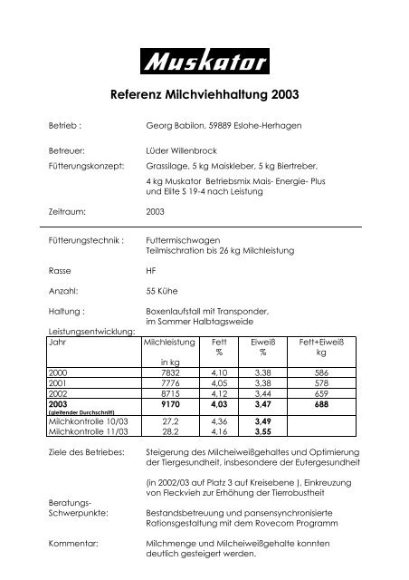 Referenz Milchviehhaltung 2003
