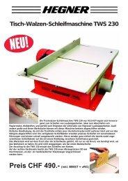 Tisch-Walzen-Schleifmaschine TWS 230