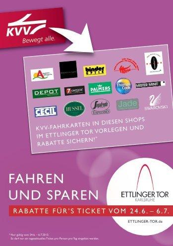 Aktion Fahren und Sparen_Flyer - Ettlinger Tor, Karlsruhe
