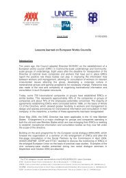 Lessons learned on European Works Councils - ETUC