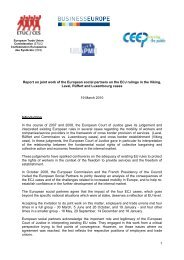 1 Report on joint work of the European social partners on ... - ETUC