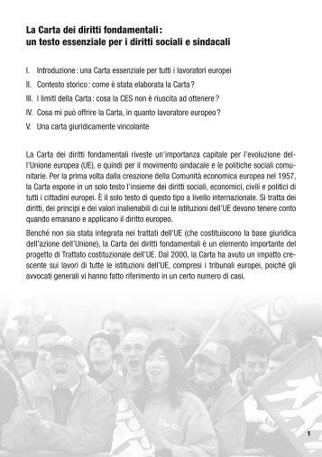 La Carta dei diritti fondamentali : un testo essenziale per i ... - ETUC