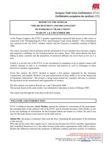 Conclusions - ETUC