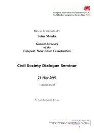 John Monks Civil Society Dialogue Seminar 26 May 2009 - ETUC