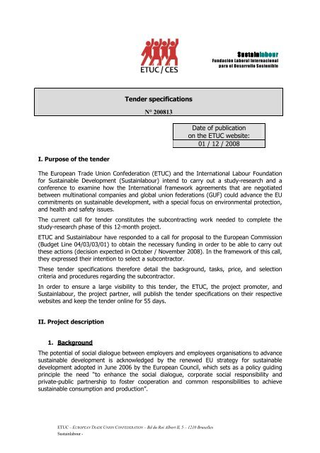Call for tender for subcontracting work (123Kb) - ETUC