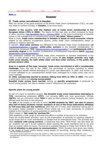 Trade union recruitment in Sweden - ETUC