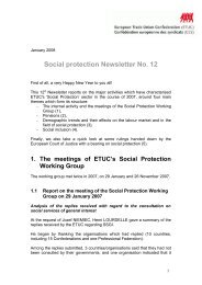 Social protection Newsletter No.12 - ETUC