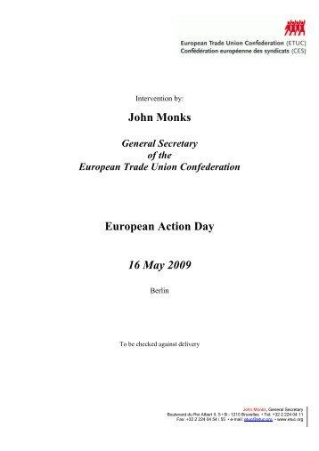 European Action Day in Berlin, 16/05/2009 - ETUC