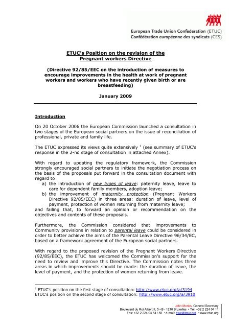 ETUC's Position on the revision of the Pregnant workers Directive