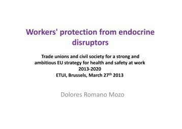 Workers' protection from endocrine p disruptors - European Trade ...