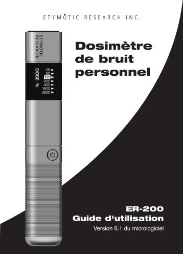 Dosimètre de bruit personnel - Etymotic Research