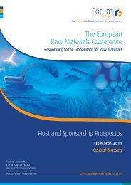 Raw Materials Sponsorship Brochure - Forum Europe EMS