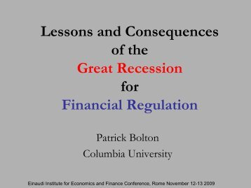 Lessons and Consequences of the Great Recession for Financial ...
