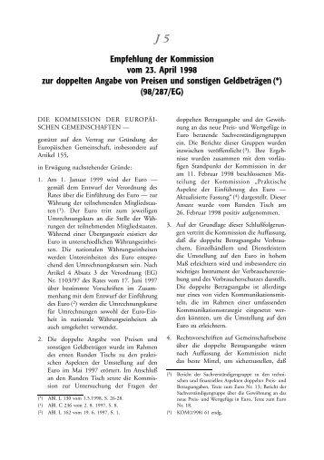 Empfehlung der Kommission vom 23. April 1998 zur ... - EU-Info.de