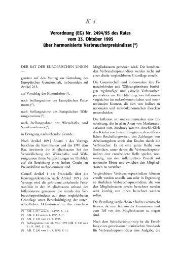 Verordnung (EG) Nr. 2494/95 des Rates vom 23 ... - EU-Info.de