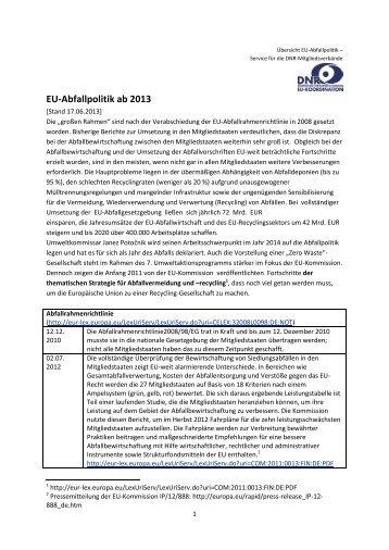 Übersicht EU-Abfallpolitik ab 2013 - EU-Koordination