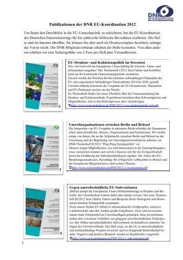 Publikationen der DNR EU-Koordination 2012