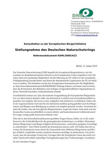 Konsultation zu der Europäischen Bürgerinitiative - EU-Koordination