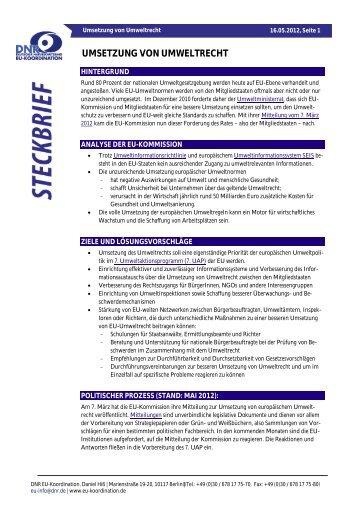 DNR-Steckbrief: Umsetzung von Umweltrecht - EU-Koordination