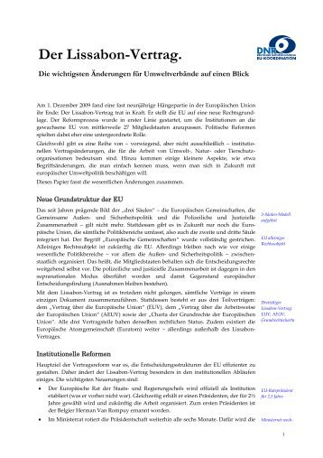 Der Lissabon-Vertrag. - EU-Koordination