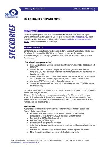 DNR-Steckbrief: Energiefahrplan 2050 - EU-Koordination