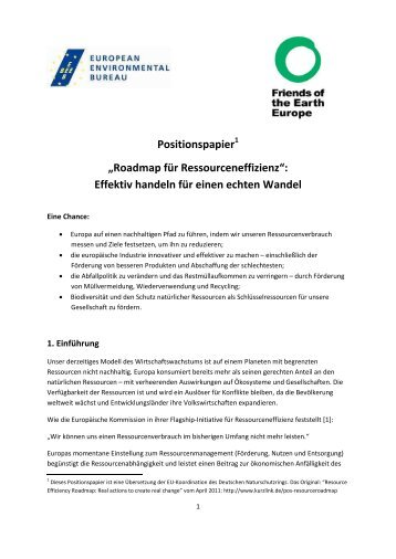 Roadmap für Ressourceneffizienz - EU-Koordination