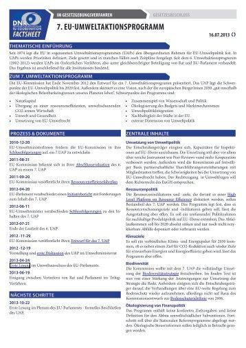 DNR-Factsheet: 7. EU-Umweltaktionsprogramm - EU-Koordination