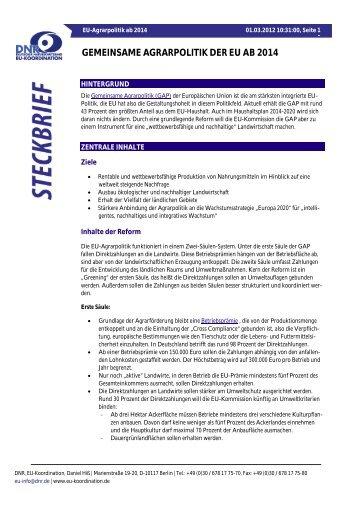 DNR-Steckbrief: EU-Agrarpolitik ab 2014 - EU-Koordination