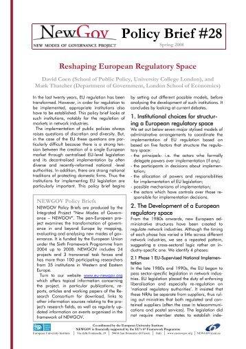 Reshaping European Regulatory Space - NEWGOV