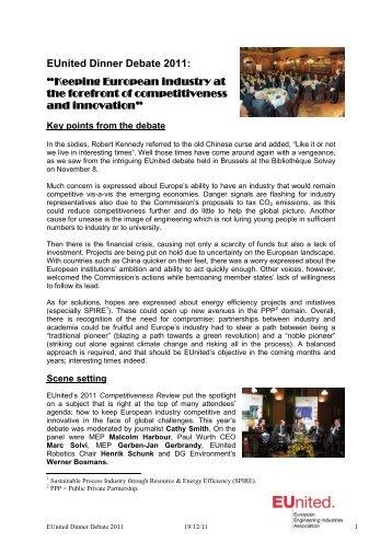EUnited Dinner Debate 2011
