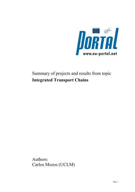 view summary (pdf) - PORTAL - Promotion of results in Transport ...