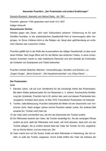 Alexander Puschkin Der Postmeister Und Andere Eu Ro Ni