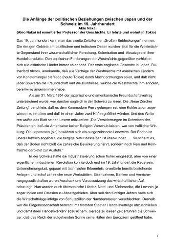 (1998): Die Anfaenge der schweizerisch-japanischen ... - EU-RO-NI