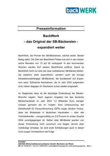 Presseinformation Backwerk - das Original der Sb-Bäckereien ...