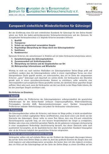 """Merkblatt """"Europaweit einheitliche Mindestkriterien für Gütesiegel"""""""