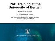 PhD Training at the University of Bergen - European University ...