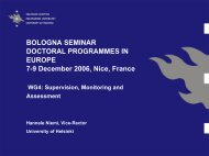 BOLOGNA SEMINAR DOCTORAL PROGRAMMES IN EUROPE 7-9 ...