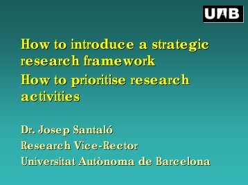 Slide presentation by Josep Santaló - European University Association