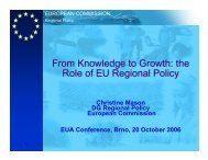 Knowledge to Growth: the Role of EU Regional Policy - European ...