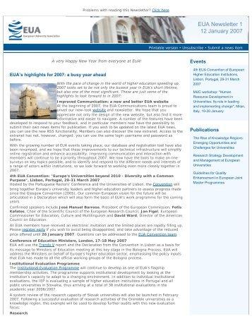 EUA Newsletter 1 - European University Association