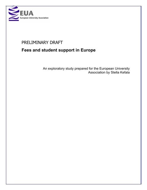 Fees and Student Support in Europe - European University ...