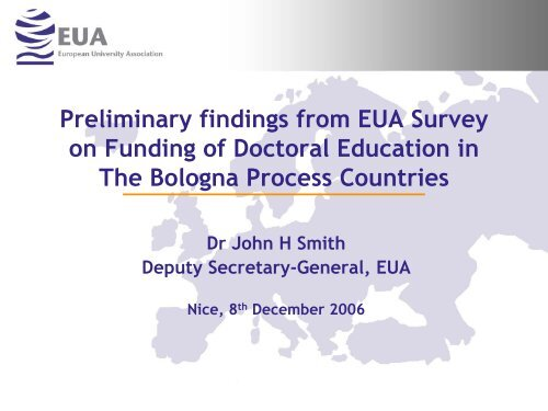 Preliminary findings from EUA Survey on Funding of Doctoral ...