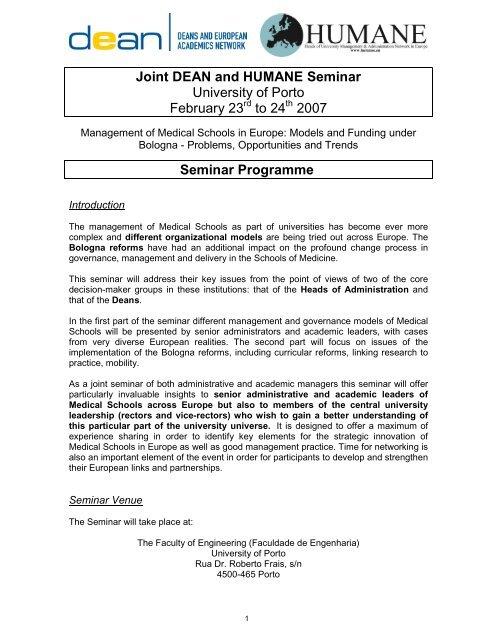 Porto Seminar Programme - European University Association