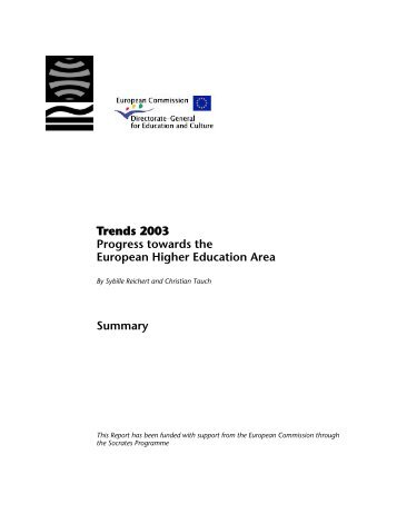 Trends 2003 Progress towards the European Higher Education Area ...
