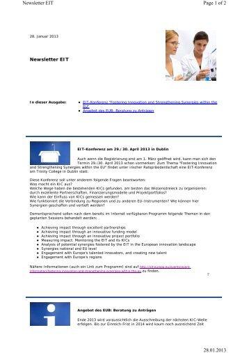 EIT Newsletter 2013 Januar - EU-Büro des BMBF