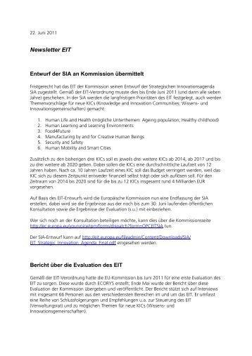 EIT Newsletter 2011 Juni - EU-Büro des BMBF