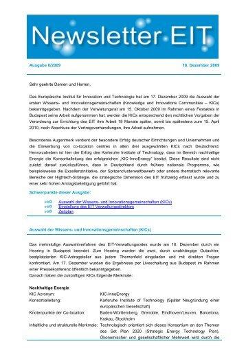 EIT Newsletter 2009 Dezember - EU-Büro des BMBF