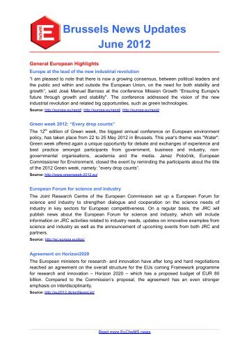 EuCheMS Brussels News Update, June 2012