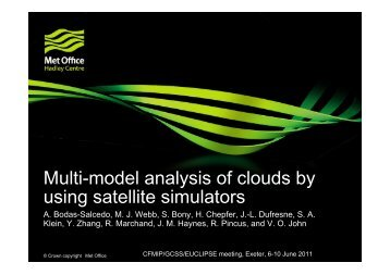 Multi-model analysis of clouds by using satellite simulators - euclipse